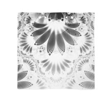 Silver Shikoba - Beautiful Black on White Fractal Paisley Forming Feathered Wings Scarf