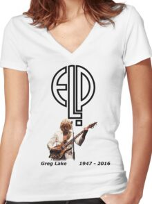 Greg Lake - Emerson Lake and Palmer Tribute Women's Fitted V-Neck T-Shirt