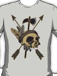 Indian Skull - Native American Skull with Feather and Arrows T-Shirt