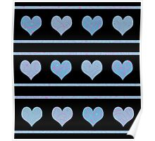 Blue harts pattern Poster