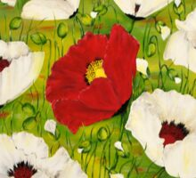 White poppies for peace Sticker