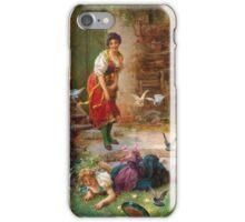 Vintage Girls and birds iPhone Case/Skin