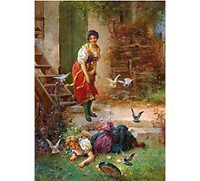 Hans Zatzka Painting Vintage Retro Decor Girls and birds Photographic Print