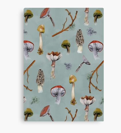 Mushroom Forest Collecting Party Canvas Print