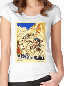 THE TOUR DE FRANCE; Vintage Bike Racing  Women's Fitted Scoop T-Shirt