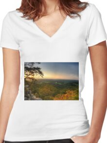 Sunset panorama on Georgia Mountains Women's Fitted V-Neck T-Shirt