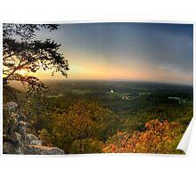 Sunset panorama on Georgia Mountains Poster