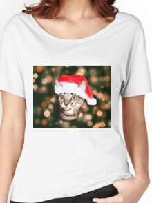 Christmas Hat Cat Women's Relaxed Fit T-Shirt