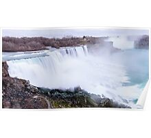 Niagara falls long exposure view on both United States and Canada Poster