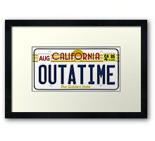 Back to the future Delorean License Plate Framed Print