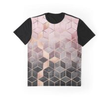 Pink And Grey Gradient Cubes Graphic T-Shirt