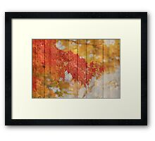 Autumn Leaves with Wooden Planks Framed Print