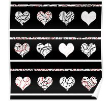 Elegant red, black and white harts pattern Poster