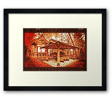 Temple Among Vivid Autumn Leaves Framed Print
