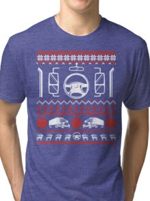 Trucker Christmas Sweater T Shirt T-Shirt Tri-blend T-Shirt