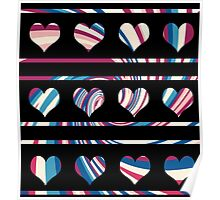 Colorful harts pattern Poster