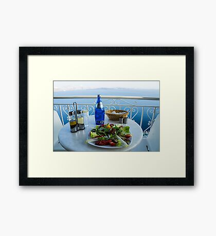 Greece islands Santorini and wine Framed Print