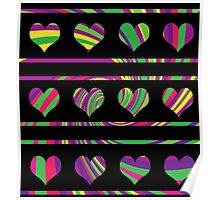 Colorful harts pattern 2 Poster