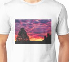 Burning Sky and Tree Silhouette Unisex T-Shirt