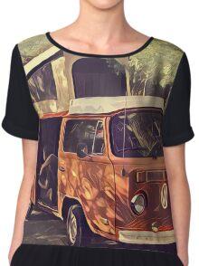 Orange Vintage VW Westfalia Camping Chiffon Top