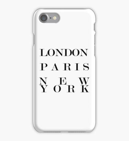 London Paris New York black and white typography iPhone Case/Skin