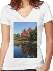 Red and Green - the Arrival of Autumn Women's Fitted V-Neck T-Shirt