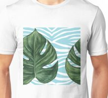 Tropical Watercolor Swiss Cheese Leaf and Zebra Unisex T-Shirt