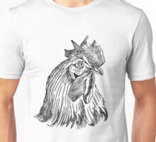 Illustration of hand drawn rooster head. Unisex T-Shirt