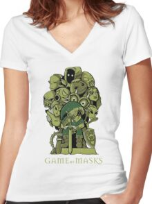GAME OF MASKS Women's Fitted V-Neck T-Shirt
