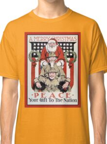 Antique Merry Christmas and peace, Santa and soldiers Classic T-Shirt