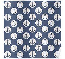 Blue Nautical Ships Anchor Poster