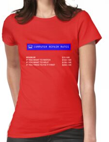 Computer Tech Technical Repair Rates Funny T-Shirt Womens Fitted T-Shirt