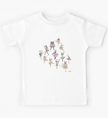 Animal Ballerinas Pattern Kids Tee