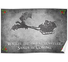 Skyrim Christmas Card: Watch the Skies Traveler Poster
