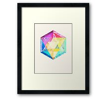 Retro Rainbow Patchwork Hexagon Framed Print