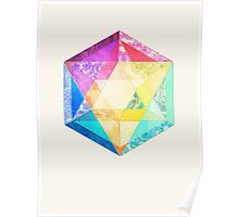 Retro Rainbow Patchwork Hexagon Poster