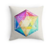 Retro Rainbow Patchwork Hexagon Throw Pillow