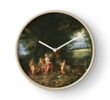 Jan Brueghel The Elder - Landscape With Ceres (Allegory Of Earth) 1630. Vintage Baroque oil famous painting : goddess Ceres, garden, floral flora, still life with fruits and vegetables, fruit . Clock
