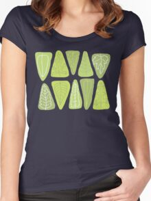 Mid Century Triangle Leaves in Shades of Green Women's Fitted Scoop T-Shirt