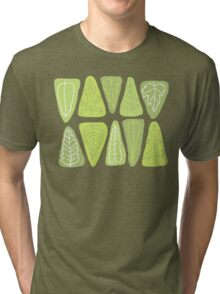 Mid Century Triangle Leaves in Shades of Green Tri-blend T-Shirt