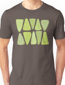 Mid Century Triangle Leaves in Shades of Green Unisex T-Shirt