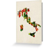 Italy Typographic Watercolor Map Greeting Card
