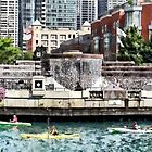 Kayaking on the Chicago River Near Centennial Fountain by Susan Savad