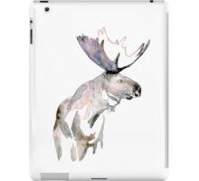 Moose Zen watercolor White iPad Case/Skin