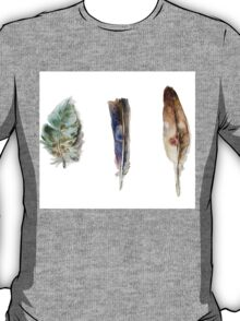Feather watercolor blue green brown T-Shirt
