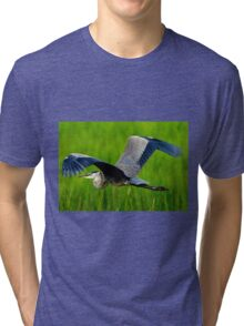 GREAT BLUE HERON INFLIGHT Tri-blend T-Shirt