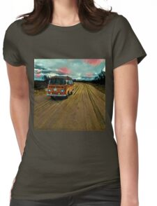 VW Bus on Sand Road Volkswagen Westfalia  Womens Fitted T-Shirt