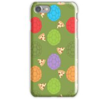 TMNT colourful shells and pizza (green) iPhone Case/Skin