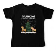 Cute Funny Prancing Through the Snow Baby Tee