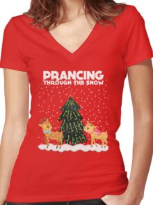 Cute Funny Prancing Through the Snow Women's Fitted V-Neck T-Shirt